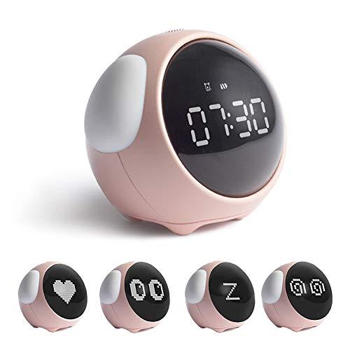 Lazeny Despertador Infantil Reloj Despertador Digital Luz Nocturna con Emoji dinámico, Control de Sonido Lámpara Mesilla de Noche, Función Snooze, Alarmas Dobles, Regalo para Niños y Niñas (Rosa)
