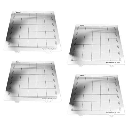Gazechimp Surface d'impression De 4 Lots, Feuille De Plates-Formes pour Lits Chauffants D'imprimante 3D, 300x300mm / 11.8x11.8inch, Argent