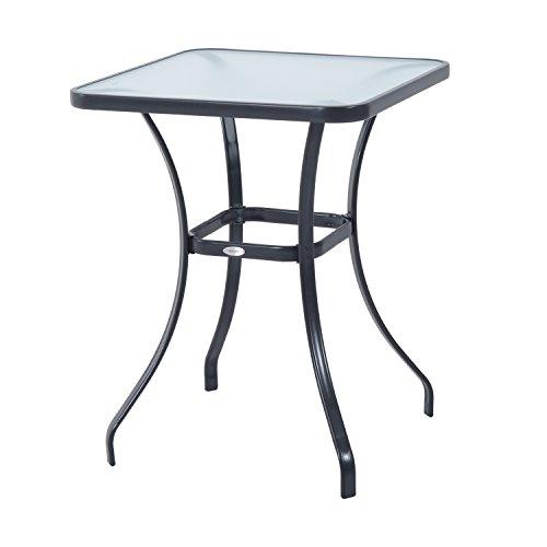 Outsunny Gartentisch Bistrotisch Glastisch Hartglas+Metall Schwarz L68,5xB68,5xH84cm
