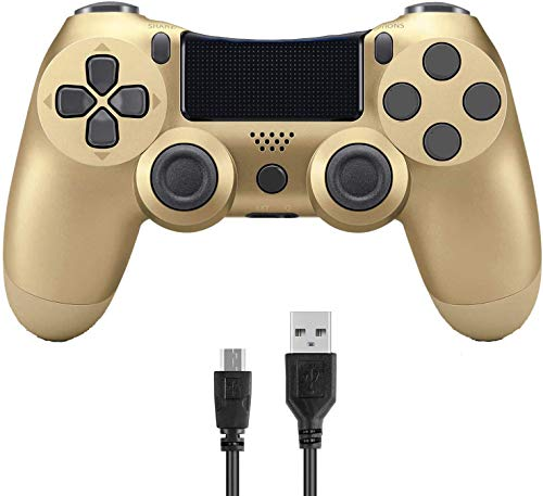Donop Wireless Controller for PS4, Game Remote Joystick Compatible with Playstation 4 Slim Pro Console(Gold-Golld)