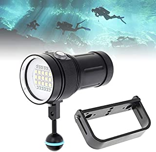 SecurityIng Scuba Diving Video Flashlight with White UV Red Light, 120 Degrees Wide Beam Angle Underwater Photography Fluorescence Dive Torch + Ball Joint + Handle(Battery Not Included)