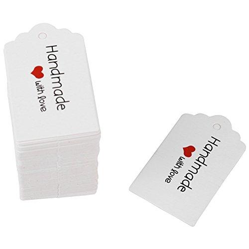 Papier Geschenkanhänger, weiß Kraftpapier Anhänger Etiketten Rechteckig Preisschilder für DIY Handwerk Dekor 100pcs(Handmade)