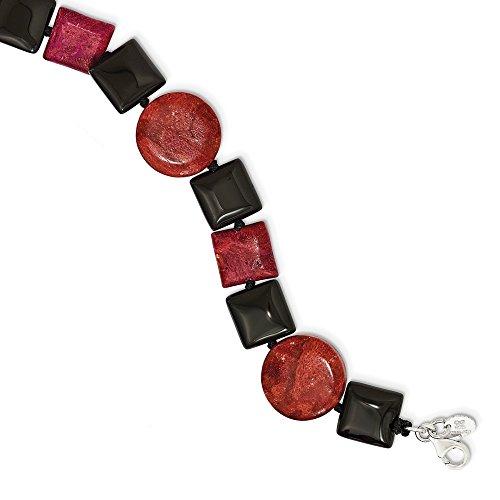 Diamond2Deal da donna in argento Sterling 925con agata nera e ricostituiti corallo rosso braccialetto 19,1cm