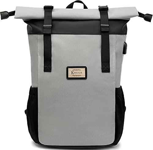 Rolltop Rucksack Damen für Schule, Schulrucksack mit 12-17 Zoll Laptop, Teenager Daypack Unisexmit USB-Ladeanschluss für Studium, Arbeit, Reisen, Universität