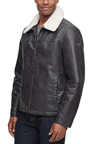 Dockers Men's James Dean Faux Leather Jacket with Removable Sherpa Collar, Dark Brown, MD