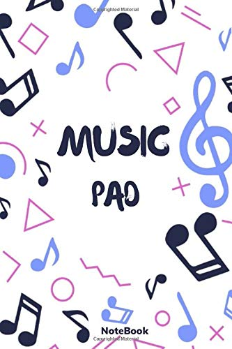 Music Pad: Standard Wirebound Manuscript Paper / Musical Instrument Gift, 120 Pages, 6x9, Paper Notebook, Matte Finish