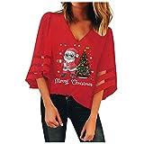 Damen Sweatshirt V-Neck Mesh Pullover Lose Trompete Ärmel Weihnachten Top Bluse Weihnachtpullover...