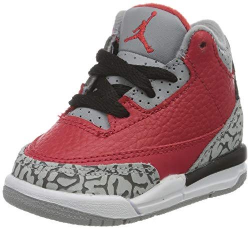 Nike Jungen Jordan 3 Retro Se (Td) Basketballschuh, Rot (Fire Red/Fire Red-cement Grey-black), 17 EU