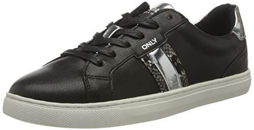 ONLY ONLSIMI-4 PU Tape Sneaker, Zapatillas Mujer, Black Detail W Silver, 39...