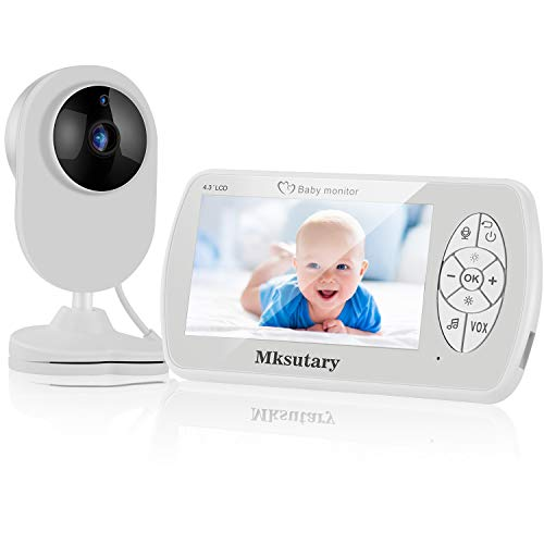 Vigilabebes con camara,Vigilabebés Inalambrico Bebé Monitor Inteligente, Ecoute-Bébé Camera 1080P avec 4.3'' Ecran LCD Audio Bidirectionnel, Vision Nocturne, Capteur de Température, Berceuses