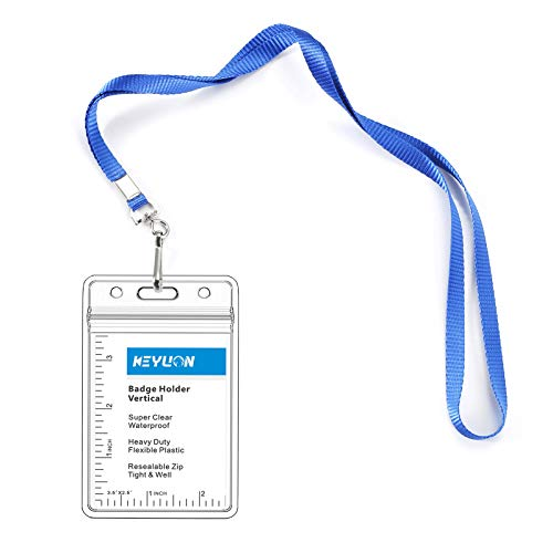 KEYLION Vertical ID Name Badge Holder with Woven Lanyard Sets (Blue, Non-Breakaway,5 Pack)- Thick Flat Necklace Lanyards with Heavy Duty Clear Plastic Waterproof Type Resealable Zip Sleeve Cover Pouch