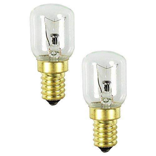 com-four® 2x Backofen-Lampe bis 300 Grad, klar, Herd-Glühbirne 25W, E14, SES, 230V, EEK=E - [Energieklasse E] (02 Stück - 25W goldfarben)