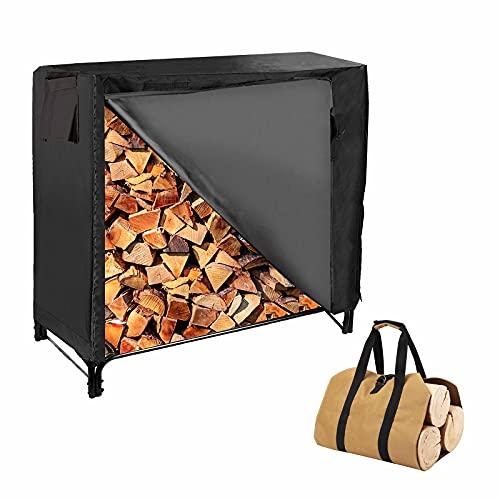 4-foot Fire Wood Racks Outdoor with Waterproof Cover and Wood Carrier Tote, Heavy Duty Log Rack Wood Holders Storage Set, Black Steel Tubular Lumber Rack & Cover, Brown Tote