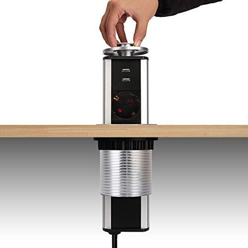 Dazone versenkbar Tischsteckdose 3-fach (Steckdosen-Turm, 2-fach USB, 2m Kabel, komplett in Tischplatte), USB Tischsteckdosenleiste Mehrfachsteckdose Einbausteckdose für Arbeitsplatte küche Chromfarbe