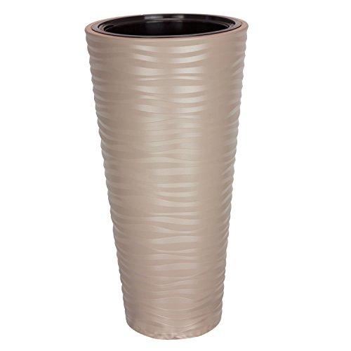Pot de Fleur Sahara en Plastique Beige 78.5 cm ht avec bac Interne