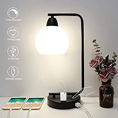 Touch Control Table Lamp with 2 USB Charging Ports and AC Outlet, Boncoo 3 Way Dimmable Industrial Desk Lamp Bedside Nightstand Lamp with Opal Glass Shade for Bedroom Office, 4000K LED Bulb Included