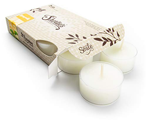 Pure Honeysuckle Tealight Candles - Highly Scented with Essential & Natural Oils - 6 White Hand Poured Tea Lights - Clear Container for Beautiful Candlelight - Flower & Floral Collection