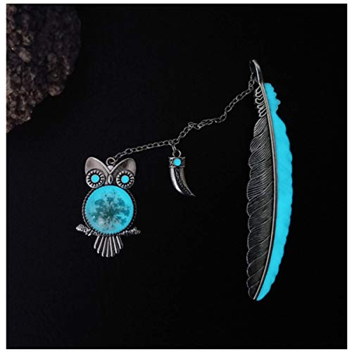 Vintage Feather Metal Bookmark, Unique Glow in The Dark Bookmark Gift for Men Women (Antique Silver Owl)