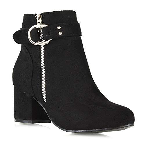 ESSEX GLAM Womens Ankle Boots Block Low Mid Heel Ladies Zip Buckle Strap Smart Booties Shoes