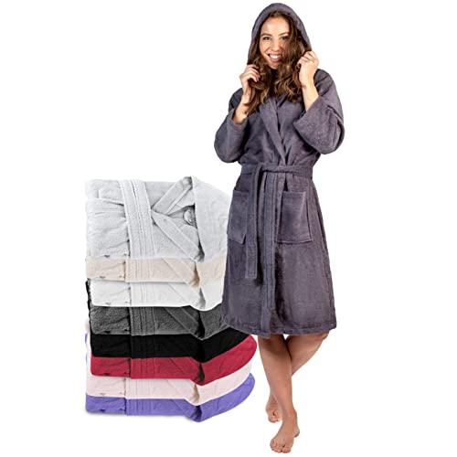 Twinzen Peignoir de Bain Femme - XS - Gris Foncé - 100% Coton avec Capuche - Certifié OEKO-TEX® - Robe de Chambre Eponge 2 Poches, Ceinture - Doux, Absorbant et Confort
