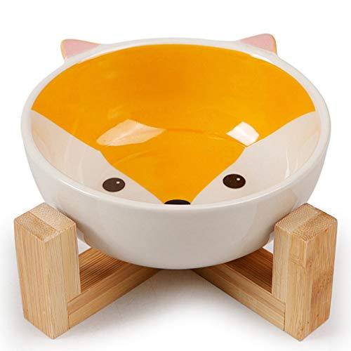 Keramik Pet Bowl Bambus Regal Haustier Hundefutter Wasser Feeder,A