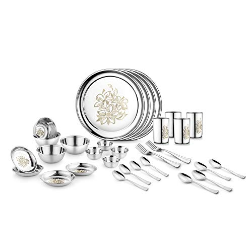 Jensons Stainless Steel Daisy Dinner Set -32 Pcs-Silver- Heavy Gauge with Permanent Laser Design