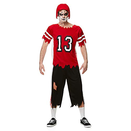 Mens Zombie Football Player Costume for Halloween Party Accessory, Extra Large Red and White