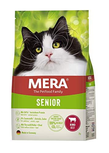 MERA Cats Senior Rind - Trockenfutter für ausgewachsene Katzen ab 6 Jahren- getreidefrei & nachhaltig - Katzentrockenfutter mit hohem Fleischanteil - 2 kg
