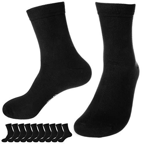 immer 10 Paar Premium Socken Baumwolle, Unisex für Damen & Herren (Schwarz, 47-50)