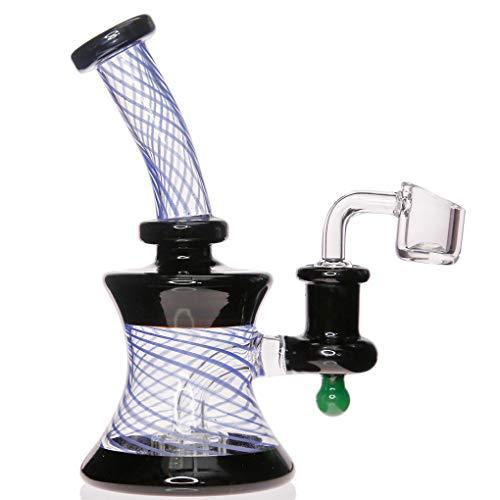 Aoheuo Mini tubos de agua de vidrio Bong coloridos Bongs Heady Pipe Dab Rigs pequeño Bubbler Beaker Bong Oil Rig con 14.4mm cuarzo Bowl (B)