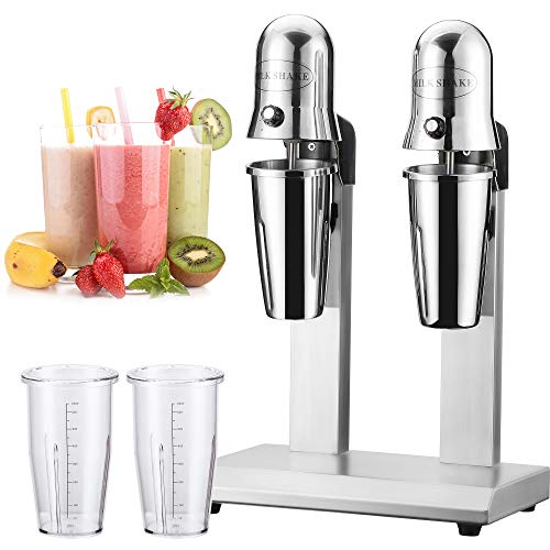 CGOLDENWALL Twin Head Milkshake Mixer 300W Stainless Steel Milkshake Machine Commercial Drink Mixer with 18000rpm High Speed- 750ml Large Cup for Mixing Cocktail/Banana/Strawberry/Coffee Milkshakes
