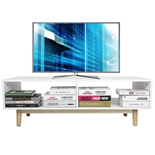 Greensen - Mueble para TV, mesa de salón moderno, estilo nórdico, aparador bajo, grabadora de DVD, mueble de TV bajo con dos espacios de almacenamiento, 48 x 120,5 x 40 cm