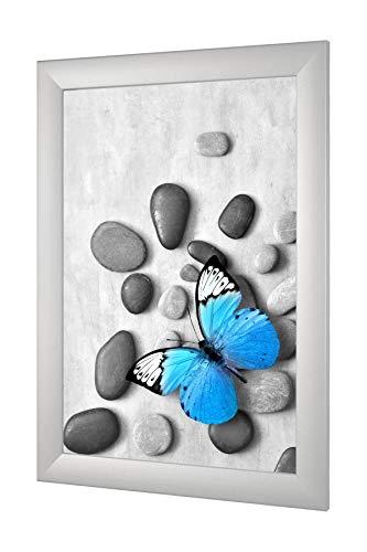 OlimpJOY Bilderrahmen 60 x 120 cm Silber matt 35mm MDF Rahmenleiste mit Antireflex-Acrylglas