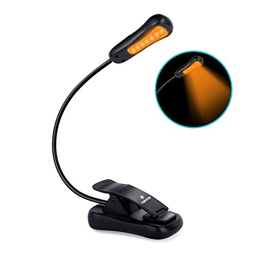 Vekkia Amber Rechargeable 7 Led Eye-Care Book Light,Blue Light Blocking Reading Light,3 Levels,1600K for Strain-Free, Healthy Eyes.Up to 70 Hours Reading.Perfect Gift for Bookworms.