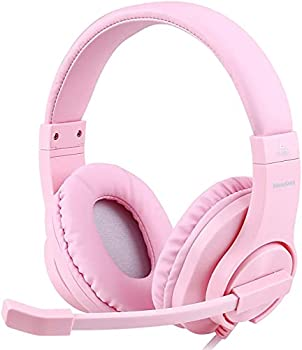 Meedasy Kids Adults Over-Ear Gaming Headphone for Xbox One Bass Surrounding Stereo PS4 Gaming Headset with Microphone and Volume Control for Laptop PC Wired Noise Isolation  Pink