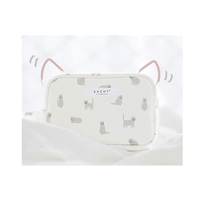 タンザニア嵐の宿命NEOVIVA 化粧ポーチ コスメポーチ メイク収納バッグ かわいい 軽量 防水 旅行小物ポーチ 猫 ホワイト S