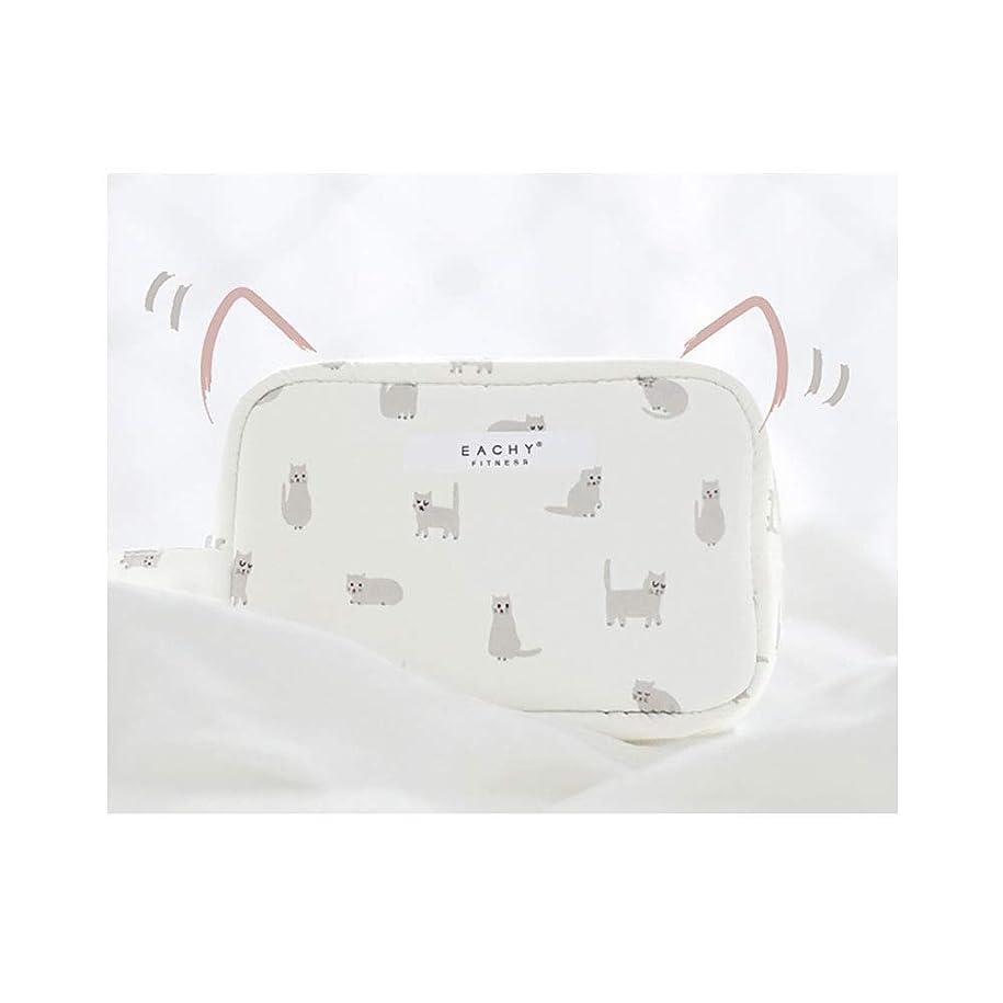 郡広まったお嬢NEOVIVA 化粧ポーチ コスメポーチ メイク収納バッグ かわいい 軽量 防水 旅行小物ポーチ 猫 ホワイト S