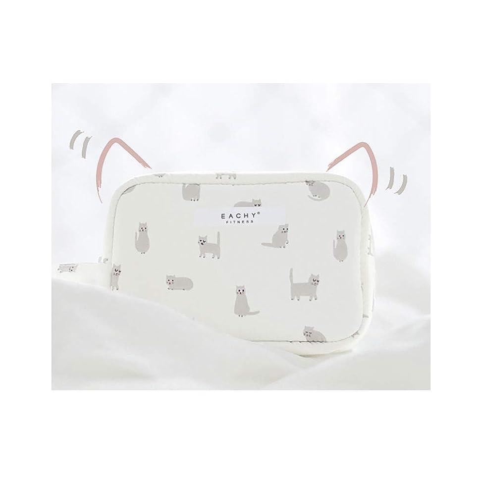 継承公溶かすNEOVIVA 化粧ポーチ コスメポーチ メイク収納バッグ かわいい 軽量 防水 旅行小物ポーチ 猫 ホワイト S
