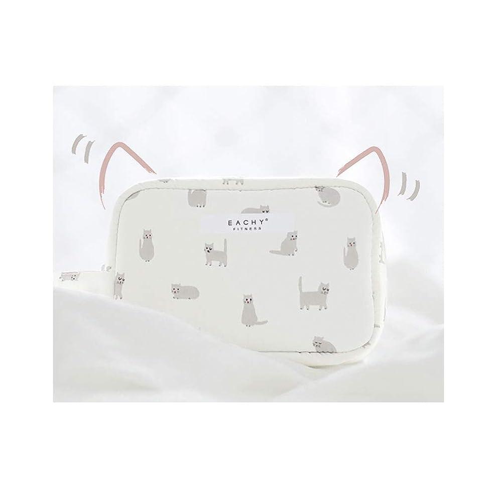 NEOVIVA 化粧ポーチ コスメポーチ メイク収納バッグ かわいい 軽量 防水 旅行小物ポーチ 猫 ホワイト S