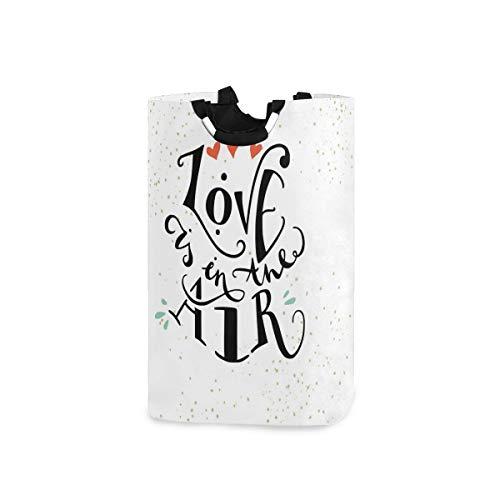 SIONOLY Wäschesack Liebe inspirierende Zitat Herzen drucken Großer Faltbarer Wäschekorb,zusammenklappbarer Wäschekorb,zusammenklappbarer Waschvorratsbehälter