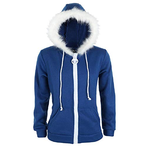 Adult Sans Blue Jacket Hoodies Costume Halloween Cosplay Plush Zipper Hooded Sweatshirt Outwear Cotton (S, Blue)