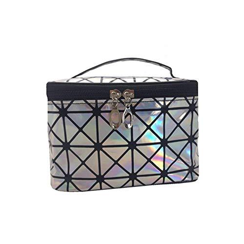 Cosmetic Bag Organizer Art und Weise 3D Laser Travel Wasserdichte Aufbewahrungstasche Frauen-Kosmetik-Beutel-Unterwäsche Waschen tragbare Tasche Geschenk-Rosen- HAIKE ( Color : Silver , Size : Size )