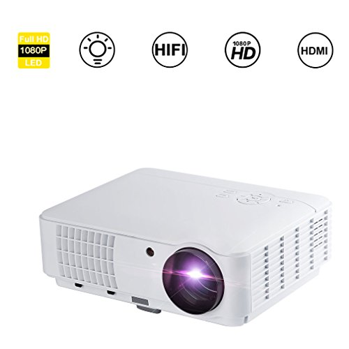 ICOCO LESHP HD 1080P Beamer Home Cinema, draagbare beamer, projector mobiele telefoon met houder, dubbele HDMI/VGA/AV, PC, HD TV, ideaal voor videogames en filmavonden