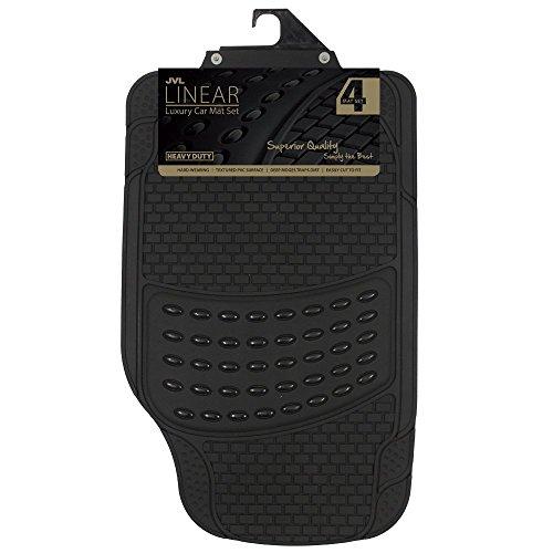 JVL 01-322 Heavy Duty Universal Rubber Car Mat Linear Luxury Set, 4 Pieces, Black