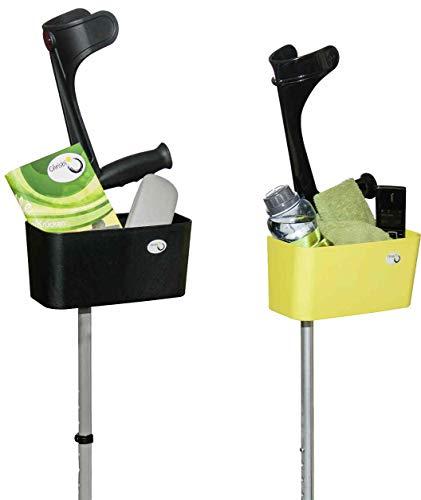Griggekärble - Transporthelfer für Gehstützen/Krücken gelb + Gummifüsse, SET