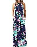 YOINS Sommerkleid Lang Damen Strandkleid Sexy Ärmelloses Casual Kleider Vintage Abendkleid Floralen Rundhals Partykleid