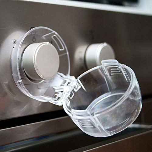 Stove Knob Covers for Child Safety, Large, 5 Pack, Kitchen Safety Guards for Kids, Baby, Toddler, Clear Oven and Gas Knob Cover by Heart of Tafiti
