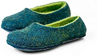 Rich blue handmade felted wool slippers for women with green inner layer, Warm home shoes
