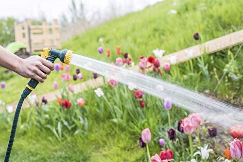 FloraSun Manguera de jardín extensible prémium, 7,5 metros de longitud, certificado TÜV SÜD, cabezal pulverizador con 7…