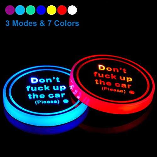 Dalimo Led Cup Holder Lights Car Coasters 7 Colors Cup Pad USB Charging Mat for...